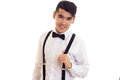 Young Man With Bow-tie And Suspenders Royalty Free Stock Images - 93289069