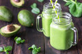Avocado And Spinach Smoothies Stock Photography - 93296392