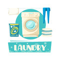 Vector Laundry And Washing Machine And Linen Stock Photo - 93309350
