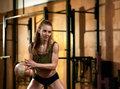 Woman With Crossfit Ball Royalty Free Stock Photo - 93309595