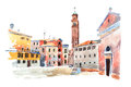 Colored Watercolor Sketch Of Old Town In Europe Drawn On White Paper. View  Santa Maria Dei Frari Steeple In Venic Stock Photography - 93312482
