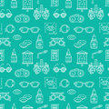 Ophthalmology, Eyes Health Care Seamless Pattern, Medical Vector Blue Background. Optometry Equipment, Contact Lenses Stock Photo - 93320250