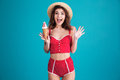 Happy Surprised Young Woman With Ice-cream Stock Photography - 93323122