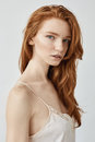 Fashion Portrait Of Beautiful Natural Redhead Girl Looking At Camera. Royalty Free Stock Photo - 93330405
