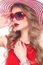 Bright Cheerful Girl In Summer Hat, Colorful Make-up, Curls And Pink Manicure. Beauty Face. Stock Image - 93331801
