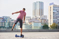 Single Leg Hoverboard Ride. Royalty Free Stock Image - 93336486