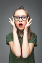 Surprised Young Girl With Glasses Stock Photos - 93343303