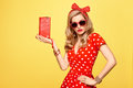 Fashion Blond Girl In Red Polka Dots Dress. Outfit Royalty Free Stock Photo - 93343485