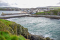 Beautiful Coastline With The Seaside Town Of Peel, Isle Of Man Royalty Free Stock Image - 93344546