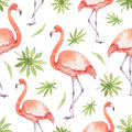 Watercolor Seamless Pattern Of Flamingo And Palm Trees Isolated On White Background. Stock Images - 93383444