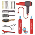 Set Of Hairdressing Tools Vector Illustration Isolated On White Background. Royalty Free Stock Image - 93398506