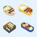 Set Of Different Bento. Japanese Lunch Boxes Collection. Funny Cartoon Food. Isometric Colorful Vector Illustration. Stock Photo - 93398540