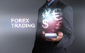 Businessman Holding Smart Phone World Of Currency Forex Trading Royalty Free Stock Photo - 93415195