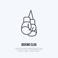 Boxing Gloves Vector Line Icon. Box Club Logo, Equipment Sign. Sport Competition Illustration Royalty Free Stock Photos - 93419788