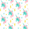 Magic Unicorn Seamless Pattern. Modern Fairytale Endless Textures, Magical Repeating Backgrounds. Cute Baby Backdrops Stock Image - 93424731