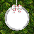 Holiday Gift Card With Christmas Ball, Bow And Fir Tree Branches Royalty Free Stock Image - 93438646
