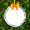 Holiday Gift Card With Christmas Ball, Bow And Fir Tree Branches Stock Photos - 93438683