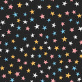 Colorful Seamless Pattern With Stars. White, Blue, Pink, Orange, Black Color. Royalty Free Stock Photos - 93444818