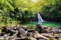 Tropical Waterfall Lower Waikamoi Falls And A Small Crystal Clear Pond, Inside Of A Dense Tropical Rainforest, Off The Road To Han Stock Photos - 93448813