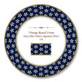 Vintage Round Retro Frame Navy Blue Flower Japanese Chintz Stock Photo - 93452480