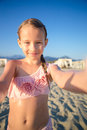 Happy Little Girl Taking Selfie At European Beach During Summer Vacation In Italy Stock Images - 93458664