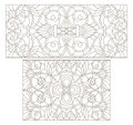 Contour Set With  Illustrations Of Stained Glass With Abstract Swirls And Flowers , Horizontal Orientation Stock Photography - 93459812