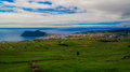 Landscape With Monte Brasil Volcano And Angra Do Heroismo, Terceira Island, Azores, Portugal Stock Images - 93461464