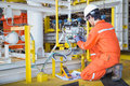 Electrical And Instrument Technician Maintenance Electric System At Offshore Oil And Gas Processing Platform Stock Photo - 93471210