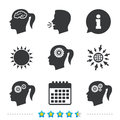 Head With Brain Icon. Female Woman Symbols. Stock Photography - 93471472