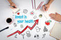 Invest In Your Health Concept. Healty Lifestyle Background. The Meeting At The White Office Table Stock Photo - 93473180