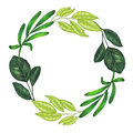 Hand Painted With Markers Floral Wreath With Twig, Branch And Green Abstract Leaves Royalty Free Stock Photography - 93473227