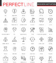 Business Motivation Thin Line Web Icons Set. Discipline Organization Outline Stroke Icons Design. Royalty Free Stock Photography - 93483337