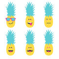 Set Smile Emoticon Face In Pineapple. Royalty Free Stock Image - 93499596