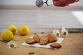 Detail Of French Sweet Homemade Pastry Madeleines With Lemon Zest Stock Images - 93499604