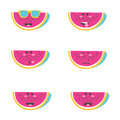 Set Smile Emoticon Face In Watermelon. Stock Photo - 93499610