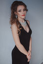 Beautiful Girl In Black Evening Dress Cocktail Party Royalty Free Stock Images - 93500539