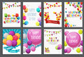 Happy Birthday, Holiday  Greeting And Invitation Card Template Set With Balloons And Flags. Vector Illustration Royalty Free Stock Photos - 93504818