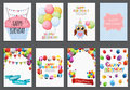 Happy Birthday, Holiday  Greeting And Invitation Card Template Set With Balloons And Flags. Vector Illustration Stock Photo - 93504830