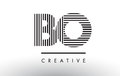 BO B O Black And White Lines Letter Logo Design. Royalty Free Stock Image - 93518056