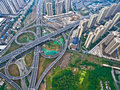 Aerial Photography Bird-eye View Of City Viaduct Bridge Road Lan Royalty Free Stock Image - 93520396
