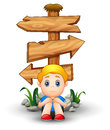 Sad Boy Cartoon Sitting Under Blank Wood Arrow Sign Stock Image - 93532231