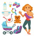 Mother Holding Newborn Child And Baby Accessories Vector Illustration Royalty Free Stock Photo - 93541955