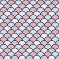 Pastel Fish Scale Wallpaper. Asian Traditional Ornament With Repeated Scallops. Seamless Pattern With Vivid Semicircles. Stock Photos - 93543213