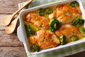 Healthy Food: Chicken Breast Baked With Broccoli In Cheese Sauce Royalty Free Stock Photos - 93553308