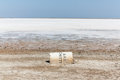 Dry Salt Lake With A Fallen Container Royalty Free Stock Images - 93561509