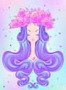 Cute Teen Girl With Closed Eyes And Long Hair. Mix Of Art Nouvea Royalty Free Stock Photos - 93565658