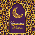 Ramadan Kareem Greeting Card With Traditional Islamic Pattern, Invitation Or Brochure In Eastern Style. Stock Photo - 93567190