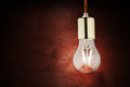 Modern Economical LED Lighting. LED Lamp On A Wooden Table. Royalty Free Stock Image - 93569476