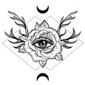 All Seeing Eye Symbol Over Rose Flower And Deer Antlers. Sacred Royalty Free Stock Images - 93569549
