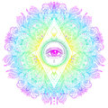 Sacred Geometry Symbol With All Seeing Eye In Acid Colors. Mysti Royalty Free Stock Photo - 93573005